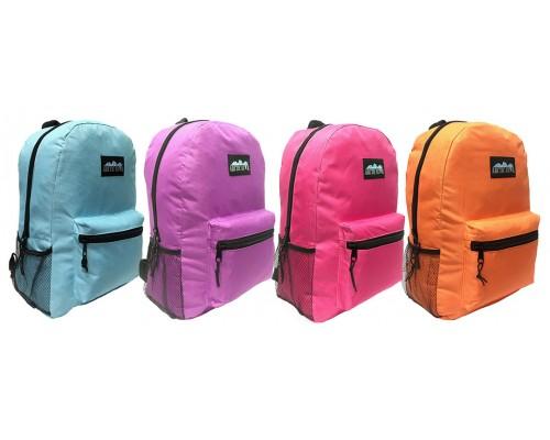 "17 "" Wholesale School Backpacks In 4 Assorted Colors - Bulk Case Of 24 Bookbags"