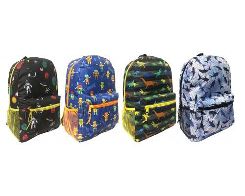 "17"" Arctic Star Wholesale Printed Backpacks in 4 Styles - Bulk Case of 24 Bookbags"