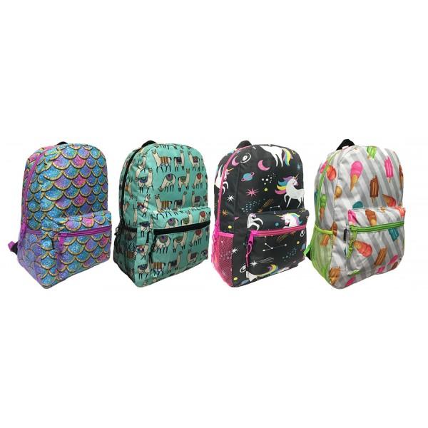 "17"" Arctic Star Wholesale School Backpacks in 4 Prints - Bulk Case of 24 Bookbags"