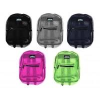 "17"" Wholesale Mesh Backpacks in 5 Colors - Bulk Case of 24 Bookbags"