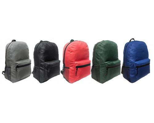 "17 "" Wholesale School Backpacks In 5 Assorted Colors - Bulk Case Of 24 Bookbags"