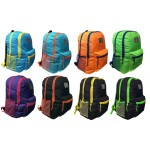 """18"""" Eaglesport Wholesale Backpacks In 8 Assorted Color Combinations - Bulk Case of 24 Bookbags"""