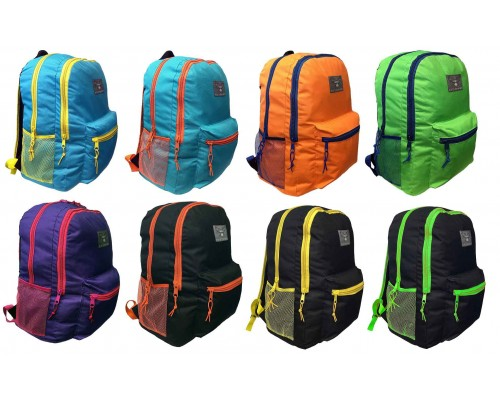 "18"" Eaglesport Wholesale Backpacks In 8 Assorted Color Combinations - Bulk Case of 24 Bookbags"