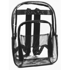 "17"" Wholesale Clear Backpacks - Black"
