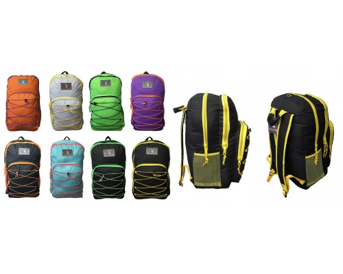 "19"" Wholesale Bungee Backpacks In Assorted Colors - Bulk Case of 24 Bookbags"