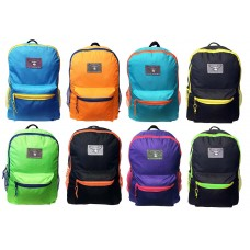 """16"""" Eaglesport Wholesale Backpacks In 8 Assorted Color Combinations - Bulk Case of 24 Bookbags"""