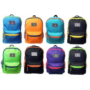 "16"" Eaglesport Wholesale Backpacks In 8 Assorted Color Combinations - Bulk Case of 24 Bookbags"