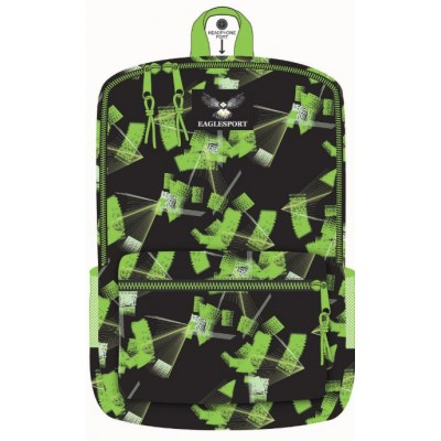 """16"""" Green Laser Printed Wholesale Backpacks"""