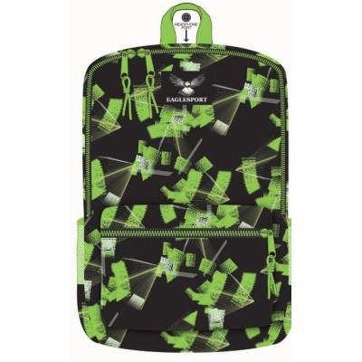 18 Inch Wholesale Printed Backpacks - Green Laser