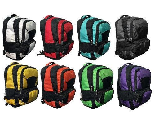 "18"" Premium Padded Wholesale Backpacks w/ Organizer In 8 Assorted Colors"