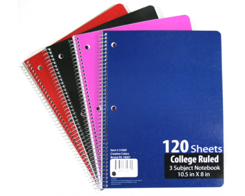 C/R Spiral School Notebooks $1.38 Each.