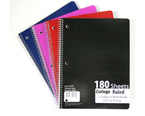 C/R Spiral School Notebooks $2.49 Each.