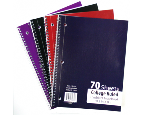 C/R Spiral School Notebooks $0.82 Each.
