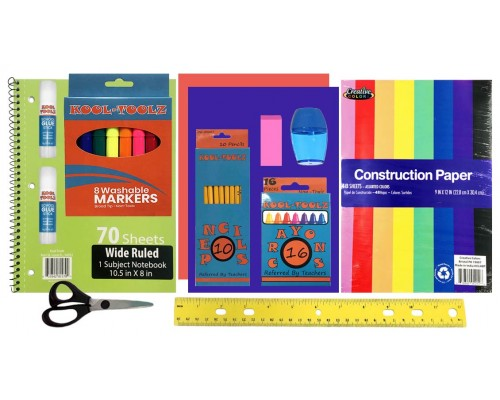 School Supply Pouch Kit $2.60 Each.