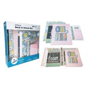 Pink Flowers 13 Pc. School Supply Kit