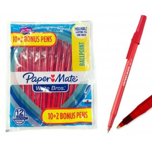 12 ct. Papermate Write Bros Ballpoint Pens Red