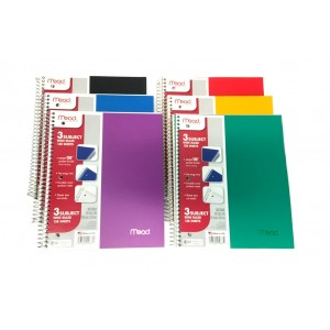 3 Subject Mead W/R Spiral Notebooks