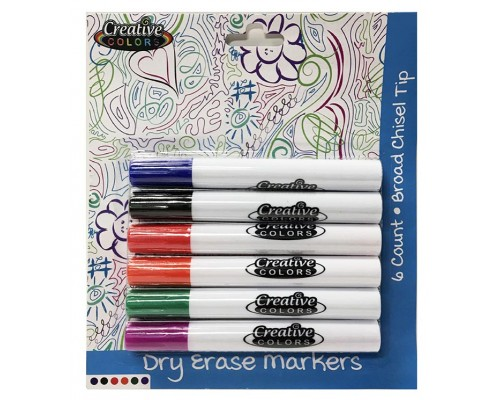 Creative Colors Dry Erase Broad Tip Markers 6ct.