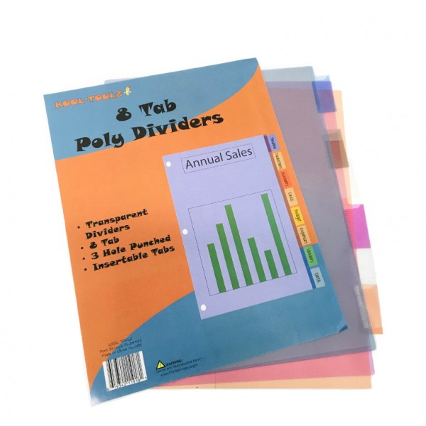 Kool Toolz Poly Index Dividers 8 Tabs