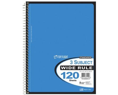 3 Subject C/R Spiral Notebooks Top-Flight