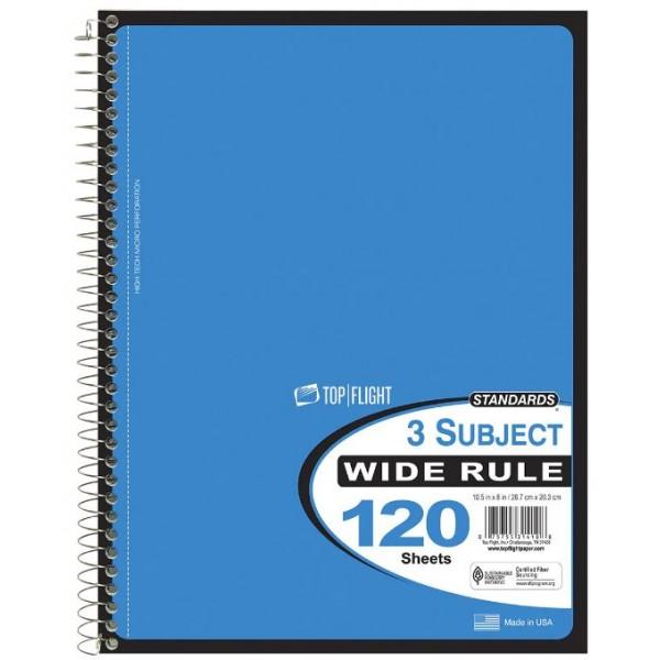 3 Subject C/R Spiral Notebooks Top Flight
