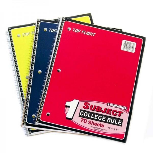 1 Subject C/R Spiral Notebooks Top-Flight