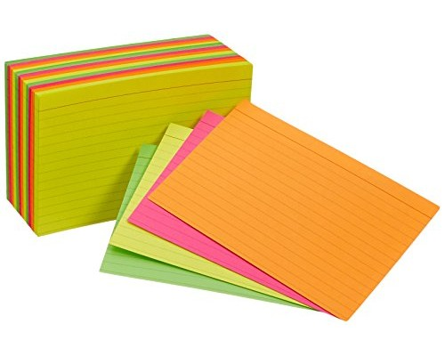 "4"" x 6"" Lined Neon Index Cards $1.29 Each."
