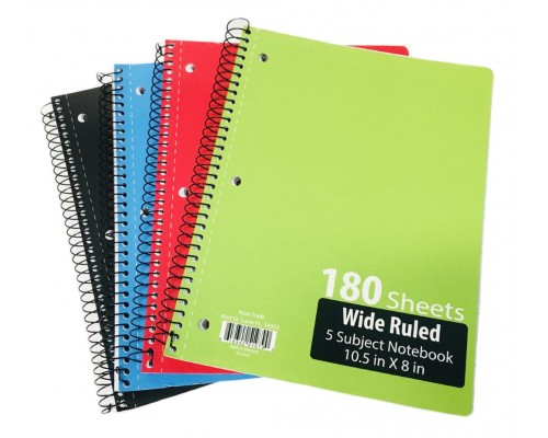 5 Subject W/R Spiral Notebooks