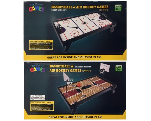 Tabletop 2-Sided Air Hockey & Basketball Game