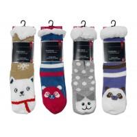 Women's Knit Sherpa Lined Slipper Socks