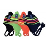 Girls Neon Hats w/ Stripes