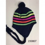 Girls Stripe Neon Hat w/Pom  $1.25 Each.