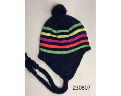 Girls Stripe Neon Hat w/Pom  $1.25 Each.