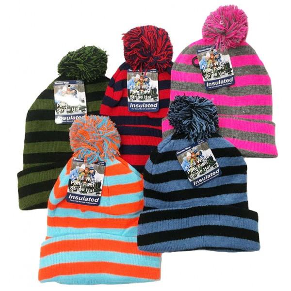 Kids Stripe Hat With Pom Pom