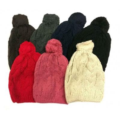 Ladies Knit Hats w/ Pom
